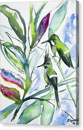 Green Thorntail Canvas Print - Watercolor - Two Together - Wire-crested Thorntail Pair by Cascade Colors