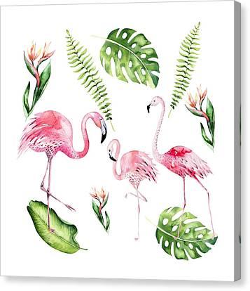 Watercolour Flamingo Family Canvas Print
