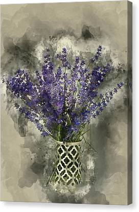Watercolour Painting Of Beautiful Fragrant Lavender Bunch In Rus Canvas Print by Matthew Gibson
