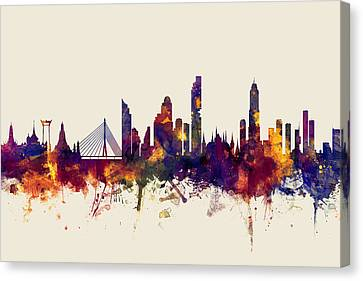 watercolour, watercolor, urban,  Bangkok, Bangkok skyline, bangkok cityscape, city skyline, thailand Canvas Print by Michael Tompsett