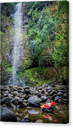 Waterfall And Flowers Canvas Print