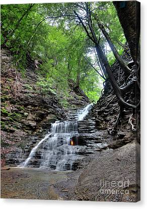 Combustion Canvas Print - Waterfall And Natural Gas by Ted Kinsman