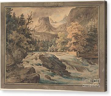 Fearnley Canvas Print - Waterfall At Berchtesgarten  by MotionAge Designs