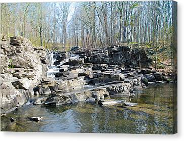 Canvas Print featuring the photograph Waterfall At Wickecheoke Creek by Bill Cannon