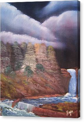 Canvas Print featuring the painting Waterfall by Barbara Hayes