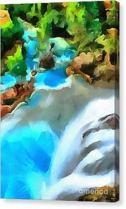 Waterfall Cascading Canvas Print by Catherine Lott