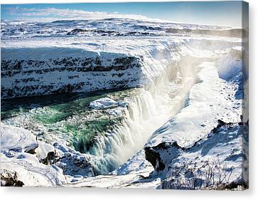 Canvas Print featuring the photograph Waterfall Gullfoss Iceland In Winter by Matthias Hauser