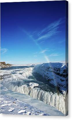 Canvas Print featuring the photograph Waterfall Gullfoss In Winter Iceland Europe by Matthias Hauser