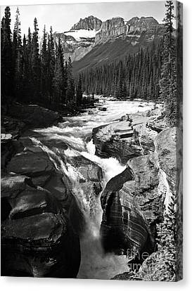 Canvas Print featuring the photograph Waterfall In Banff National Park Bw by RicardMN Photography