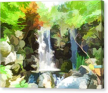 Waterfall In Forest Canvas Print by Lanjee Chee