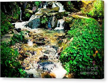 Maple Season Canvas Print - Waterfall In Himalaya Mountains, Nepal by Raimond Klavins