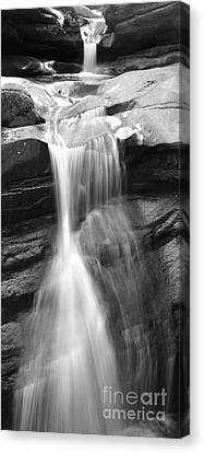 Waterfall In Nh Black And White Canvas Print