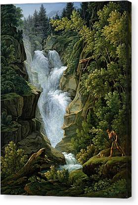 Waterfall In The Bern Highlands Canvas Print by Joseph Anton Koch