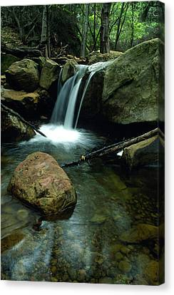 Waterfall In The Woods Canvas Print by Kathy Yates