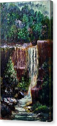 Canvas Print featuring the painting Waterfall  by Laila Awad Jamaleldin