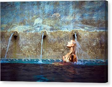 Waterfall Mermaid Canvas Print by Karl Alexander