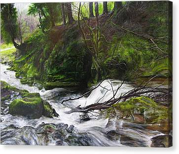Canvas Print featuring the painting Waterfall Near Tallybont-on-usk Wales by Harry Robertson