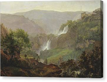 Waterfall Near Tivoli Canvas Print by Johann Martin von Rohden