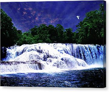 Waterfall Painting Waterfall Prints On Canvas - Agua Azul Canvas Print by Zenisart Gallery