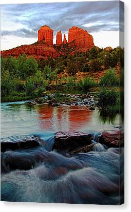 Waterfall Under Cathedral Rock Canvas Print by Dave Dilli