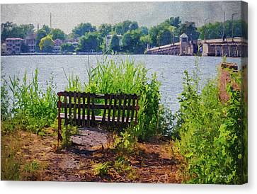 Waterfront Bench - Paint Fx Canvas Print by Brian Wallace