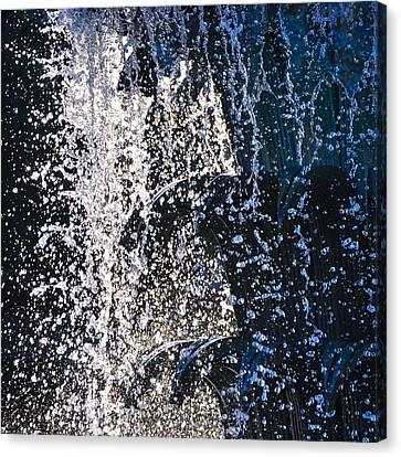 Waterfront Fountain Black Charleston  Canvas Print by Lori Kesten