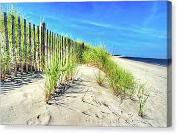 Canvas Print featuring the photograph Waterfront Sand Dune And Grass by Gary Slawsky