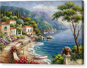 Waterfront Villas At Como Lake Canvas Print