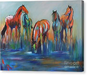 Canvas Print featuring the painting Watering Hole 5 by Cher Devereaux