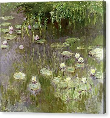 1918 Canvas Print - Waterlilies At Midday by Claude Monet