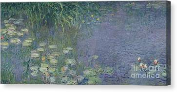 Nympheas Canvas Print - Waterlilies Morning by Claude Monet