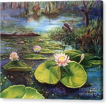 Canvas Print featuring the painting Waterlilies by Renate Nadi Wesley