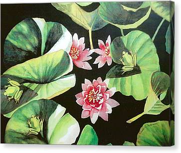 Waterlilies With Frogs Canvas Print