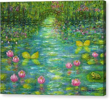 Canvas Print featuring the painting Waterlily Butterflies by Jeanne Kay Juhos