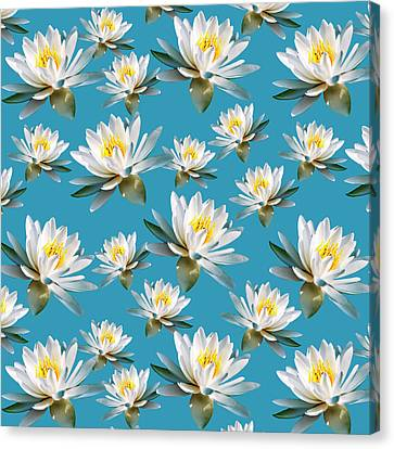 Canvas Print featuring the mixed media Waterlily Pattern by Christina Rollo