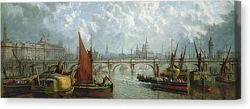 Waterloo Bridge From The River Thames Canvas Print