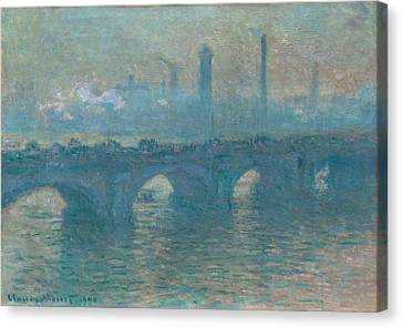 Waterloo Bridge, Gray Weather Canvas Print by Claude Monet
