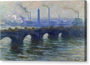 Waterloo Bridge, London, 1900 Canvas Print by Claude Monet