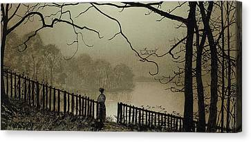 Waterloo Lake Roundhay Park Leeds Canvas Print by John Atkinson Grimshaw