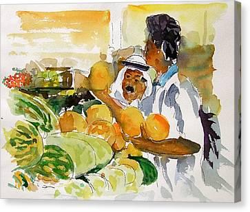 Watermelon Man Canvas Print by Mike Shepley DA Edin