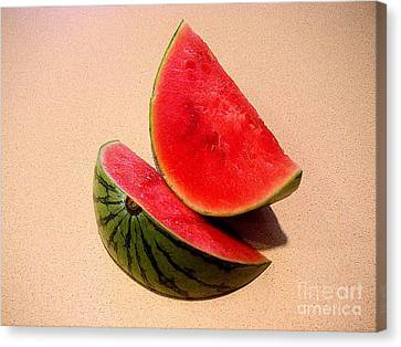 Watermelon Study Canvas Print by Lucyna A M Green