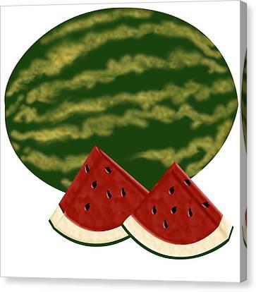 Watermelon Time Canvas Print by Melissa Stinson-Borg