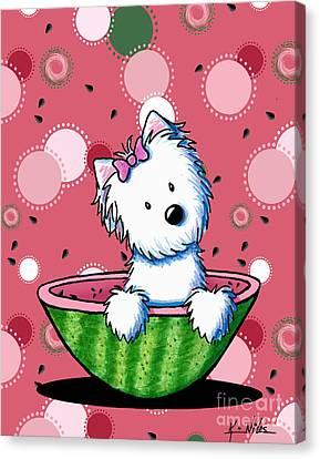 Watermelon Westie Girl Canvas Print by Kim Niles