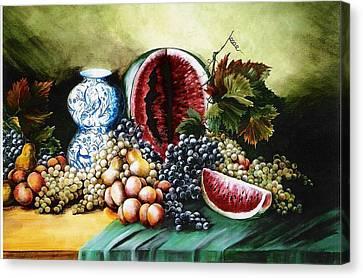 Watermelon With Blue Delft Jar Canvas Print