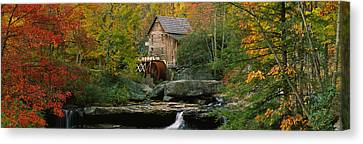 Falling Water Creek Canvas Print - Watermill In A Forest, Glade Creek by Panoramic Images