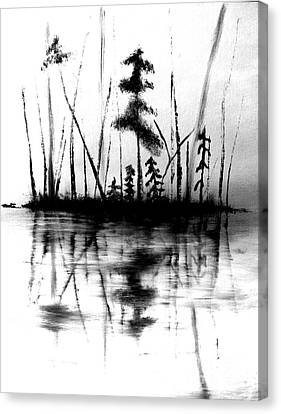 Canvas Print featuring the painting Waters Edge by Denise Tomasura