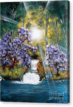 Canvas Print featuring the painting Waters Edge by Greg Moores