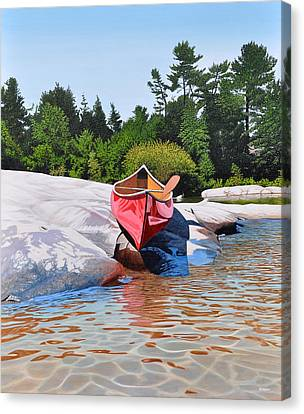 Canvas Print featuring the painting Waters Edge by Kenneth M Kirsch