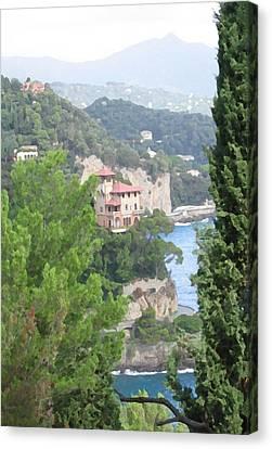 Waters Edge Portofino Canvas Print by Paul Barlo