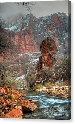 Waters Rushing At The Temple Of Sinawava Canvas Print by Irene Abdou